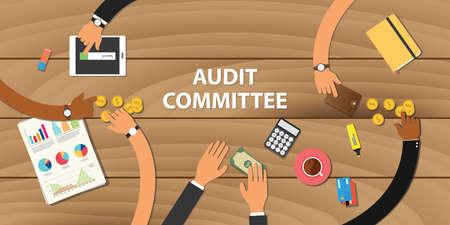 Comité d'audit équipe d'illustration travailler ensemble avec la main sur la table en bois avec de l'argent papier graphique papier vecteur monnaie d'or