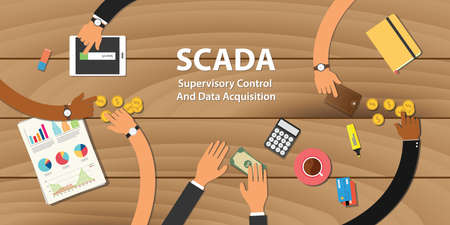 scada Supervisory Control and Data Acquisition illustration team work together with hand on wooden table with money graph paper work gold coin vector