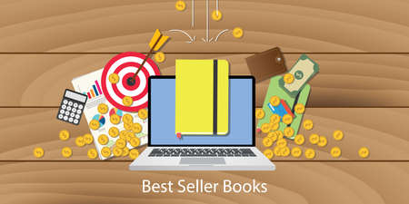 Best seller books with laptop goals target chart and money falling from sky vector Illustration
