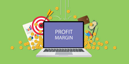 calculating: profit margin concept illustration with laptop text on screen gold coin money falling down with goals graph chart paperwork as background