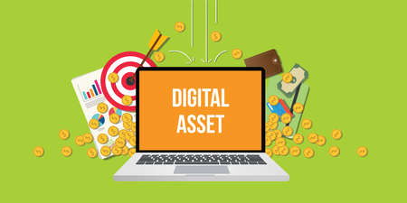 digital asset concept illustration with laptop text on screen gold coin money falling down with goals graph chart paperwork as background