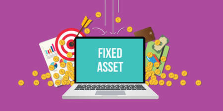 fixed asset concept illustration with laptop text on screen gold coin money falling down with goals graph chart paperwork as background Vektoros illusztráció