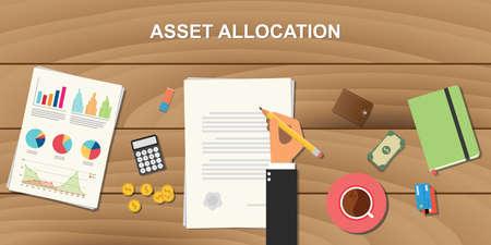 asset allocatie concept illustratie met zakenman werken op papier document met grafiek grafiek en geld op de top van houten tafel en ondertekening van een papier