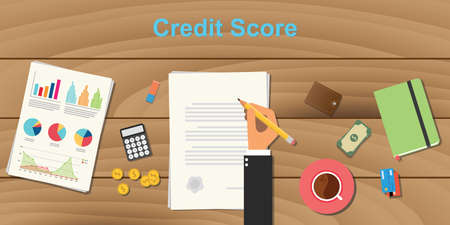 credit score concept illustration with business man hand working on paper work with graph and chart money and pencil with coffee on top of wooden table