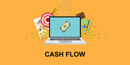 cashflow concept illustration with laptop and money om screen with gold coin, goals target, paperwork as background that falling from sky