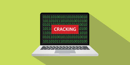 Cracking concept illustration with laptop computer and text banner on screen with flat style and long shadow Banco de Imagens - 81954590