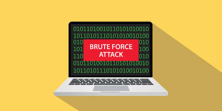 Brute force attack concept illustration with laptop computer and text banner on screen with flat style and long shadow