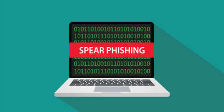 Spear phishing concept illustration with laptop computer and text banner on screen with flat style and long shadow