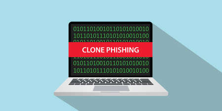 clone phishing concept illustration with laptop comuputer and text banner on screen with flat style and long shadow