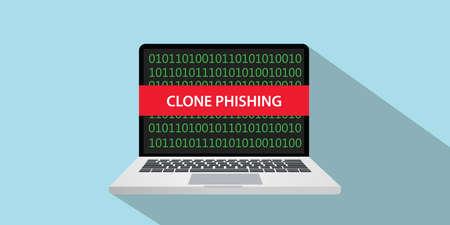 kloon phishing concept illustratie met laptop comuputer en tekstbanner op scherm met vlakke stijl en lange schaduw