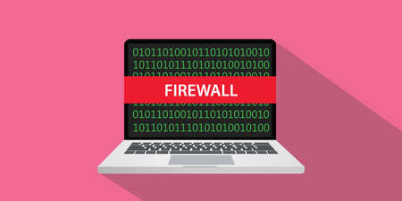 Firewall concept illustration with laptop computer and text banner on screen with flat style and long shadow