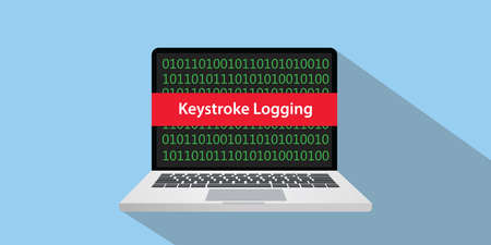 Keystroke logging concept illustration with laptop computer and text banner on screen with flat style and long shadow Illustration