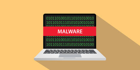 mal: Malware concept illustration with laptop computer and text banner on screen with flat style and long shadow Illustration