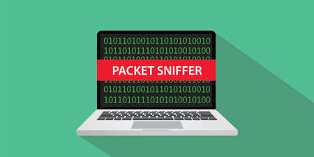 Packet sniffer concept illustration with laptop computer and text banner on screen with flat style and long shadow