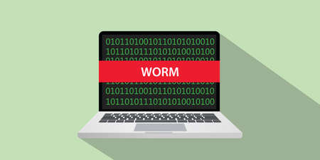 Worm hacking technique concept illustration with laptop computer and text banner on screen with flat style and long shadow