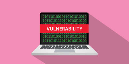 Vulnerability concept illustration with laptop computer and text banner on screen with flat style and long shadow 向量圖像