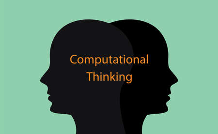 computational thinking concept illustration with human head silhouette and text over it vector