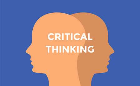 critical thinking concept illustration with head silhouette and text over it vector 向量圖像
