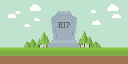 het kerkhof scheurt rust in vredesgrafsteen met hemel en wolk als achtergrond en groene grasvector Vector Illustratie