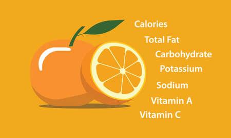 orange fresh yellow nutrition element vector graphic illustration  イラスト・ベクター素材