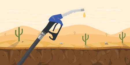 a dry fuel pump with last or latest drop on the desert vector graphic illustration