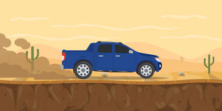 car pickup truck on the desert road with cactus tree and mountain as background vector graphic illustration