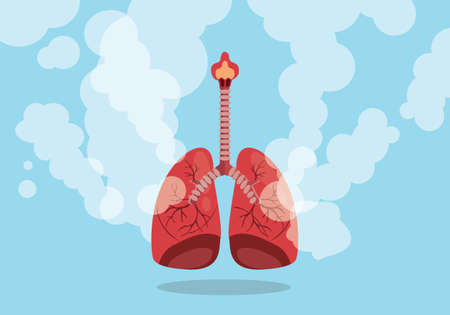 lungs on smoke unhealthy sign with flat blue background style vector graphic illustration