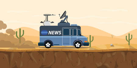 news tv car van on the desert with sand and cactus mountain vector graphic illustration Illustration