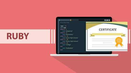 ruby programming language paper certification with laptop and real code script sample vector illustration