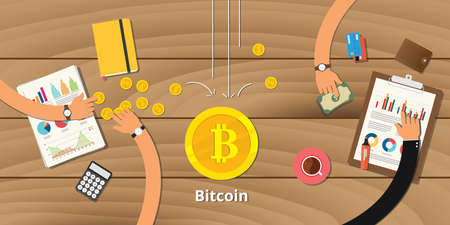 Bitcoin business investment concept template Stock Illustratie