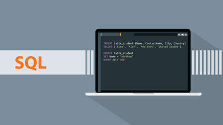 sql structured query languages programming language with script code on laptop screen vector graphic Stock Illustratie