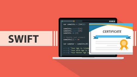 swift programming online learning certification school vector graphic illustration 向量圖像
