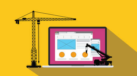 ux user experience design website apps development and build with crane and laptop vector illustration Stock Photo