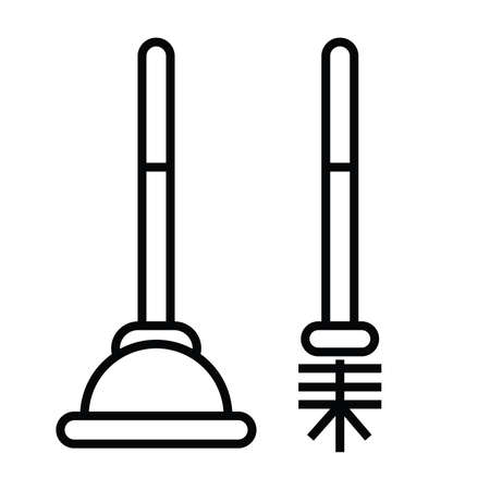 plunger or plumber rubber icon with outline and line style vector illustration Çizim