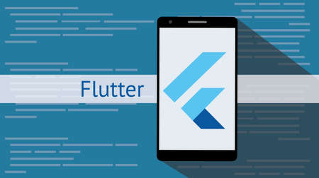 flutter programming language with flat and long shadow vector illustration