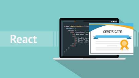 react native programming online learning certification school vector graphic illustration Vettoriali