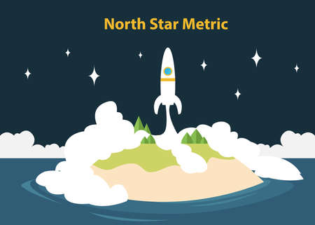 north star metric nsm concept to manage and count startup growth vector illustration Illustration