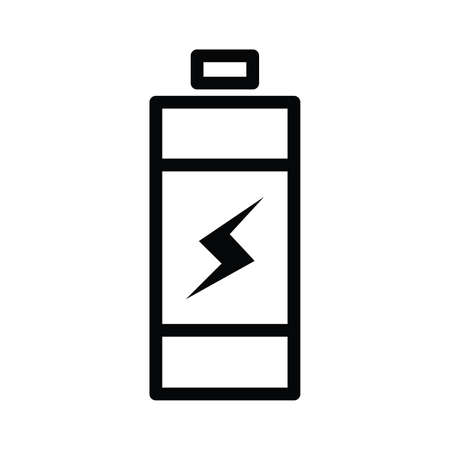 Battery icon Single outline line style with electric vector illustration