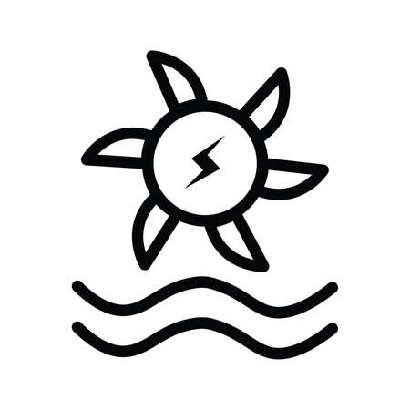 Water turbine icons in flat and silhouette style vector illustration