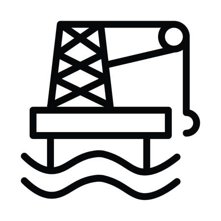 Offshore Ecology Icon with outline style vector illustration