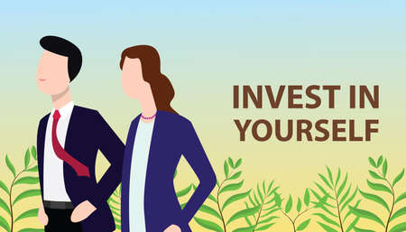 invest in yourself concept with business man and business woman standing together looking for improvement vector illustration