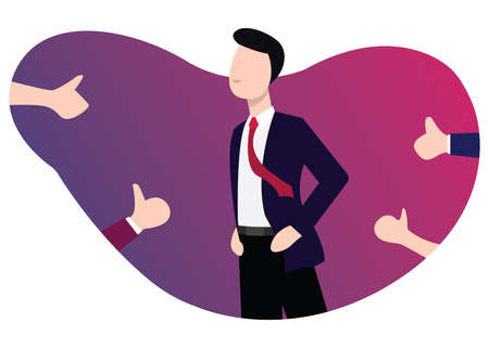 business man success get respect appreciation from other people with proud vector illustration