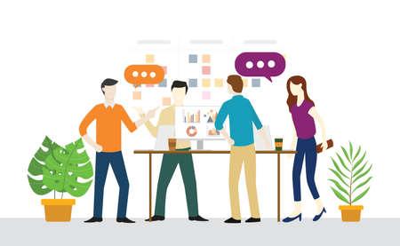 Plan diario de reuniones de pie o de pie para el trabajo en equipo para la ilustración de vector de desarrollo ágil y scrum