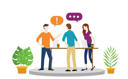 team office debate or argument about something with angry emotion or hot situation vector illustration Illustration