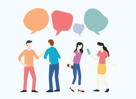 people business man and woman discussing about news social media and interacting each other vector illustration