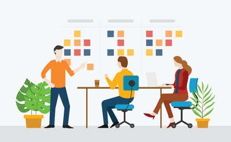Agiles Team, das mit Sticknotizen-Sprint-Aufgaben auf der Bürovektorillustration zusammenarbeitet