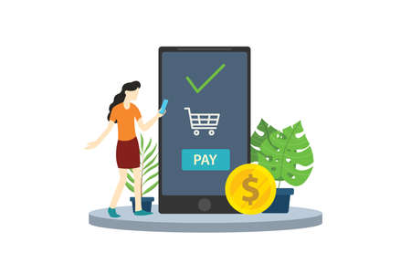 mobile payment business app technology with digital banking concept - vector illustration