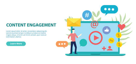 content engagement website design template banner with flat style vector illustration 向量圖像