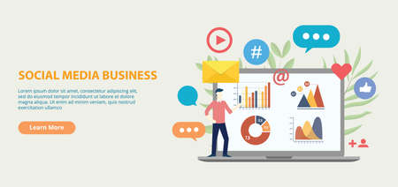 social media business icon website template banner with graph and chart analytical growth vector illustration Illustration