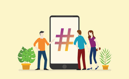 social media hashtag business with people men and woman circle in the smartphone app - vector illustration